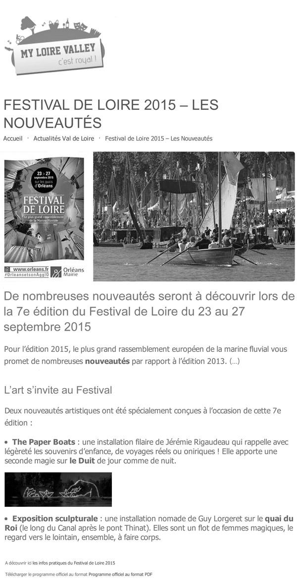 Festival de Loire 2015 - Les Nouveautés _ Val de LoireDV