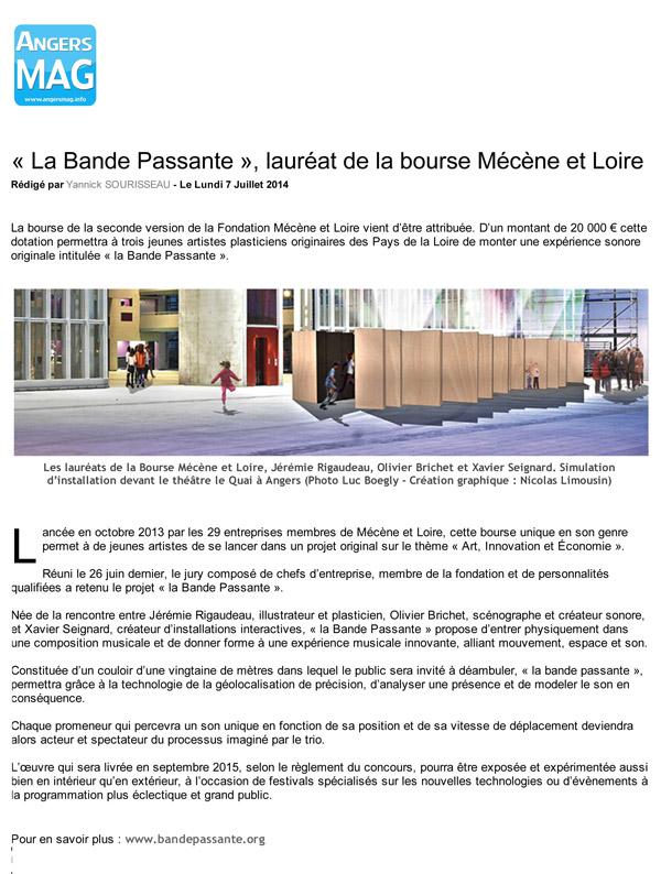 Maine-et-Loire _ « La Bande Passante », lauréat de la bourse Mécène et LoiredDV